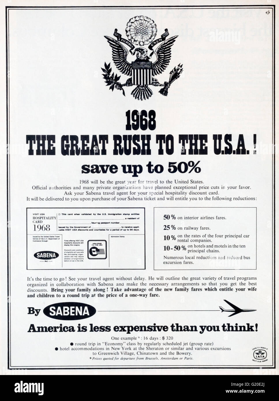 1960s magazine advertisement advertising American holidays in the USA by Sabena Airlines. Stock Photo