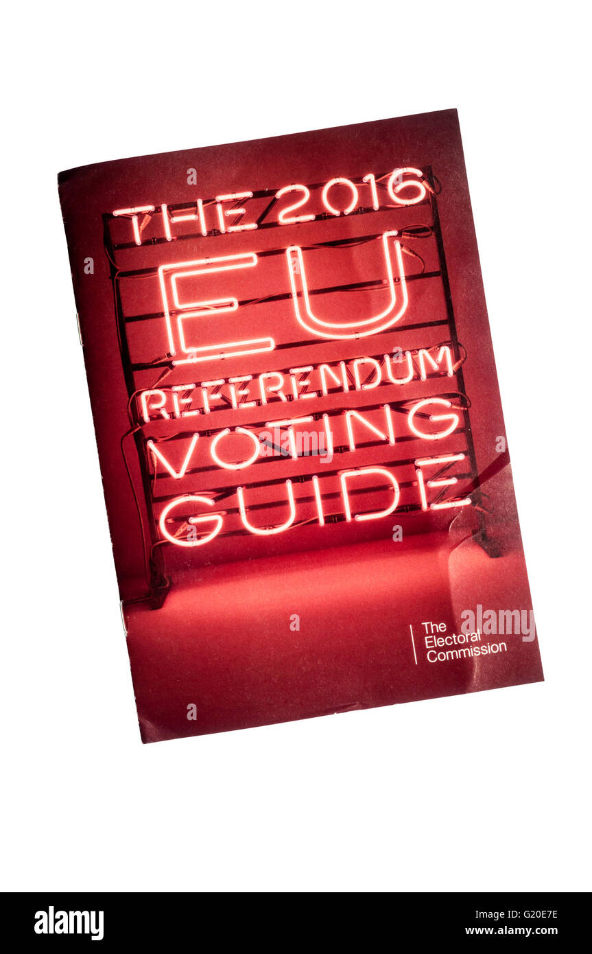 The 2016 EU Referendum Voting Guide issued by the Electoral Commission. - Stock Image