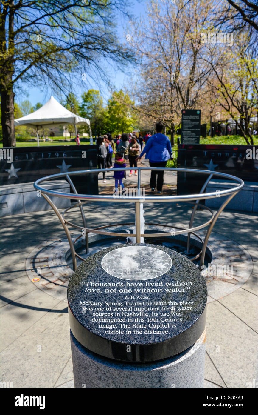 The McNairy Spring memorial fountain with W.H. Auden quote at Tennessee Bicentennial Capitol Mall State Park in Stock Photo