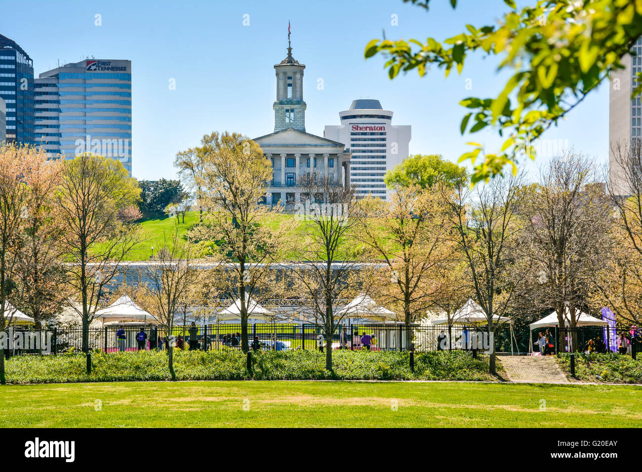 A long distance view of the Tennessee State Capitol Building from Bicentennial Mall Park in Nashville, TN Stock Photo