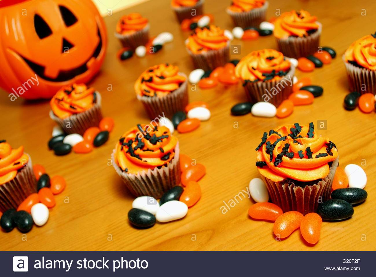 halloween inspired cupcakes stock image