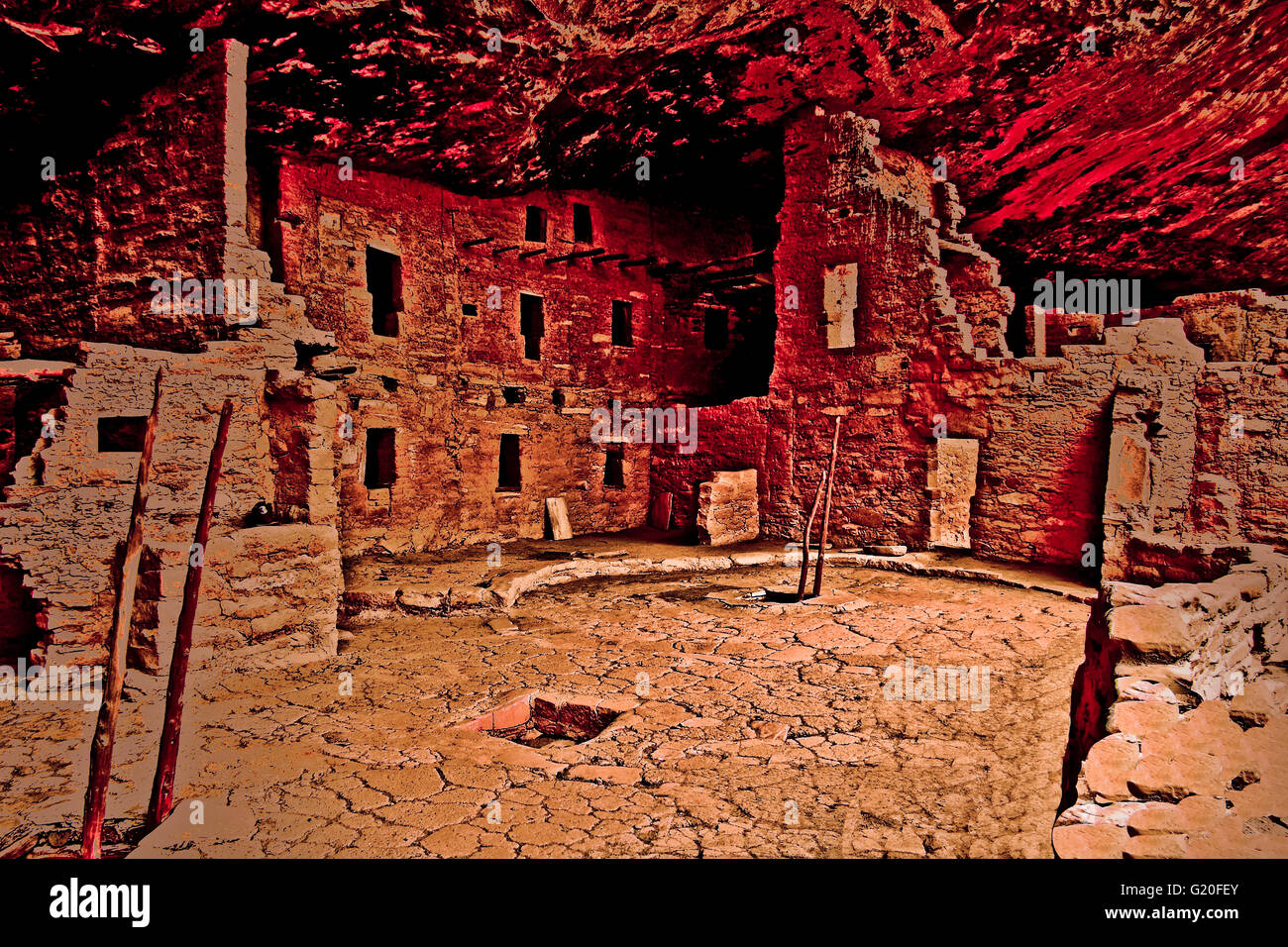 Cliff Dwellings of Mesa Verde National Park preserves, spectacular reminder of this ancient culture of Anasazi. - Stock Image