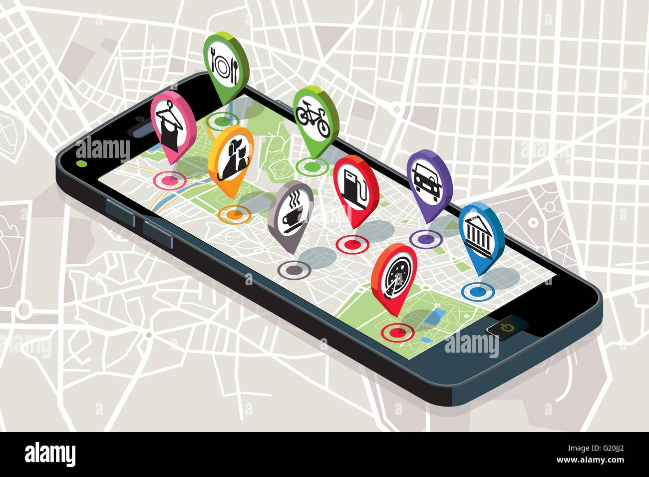City map with GPS services Icons. Smartphone. On it screen a vector map of the city, where  appear pins with the - Stock Image