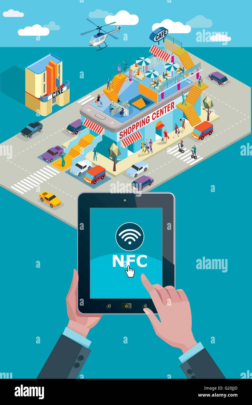 Hands holding touchscreen smart phone. Mobile applications and NFC icon. In the background a Shopping Center in Stock Vector