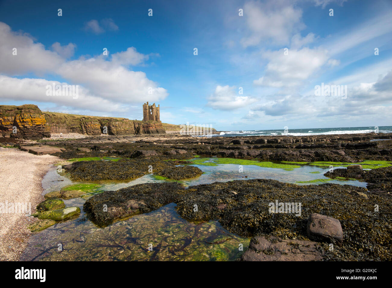 The partially ruined Keiss Castle, on the clifftops north of Keiss Village in Caithness Scotland UK - Stock Image