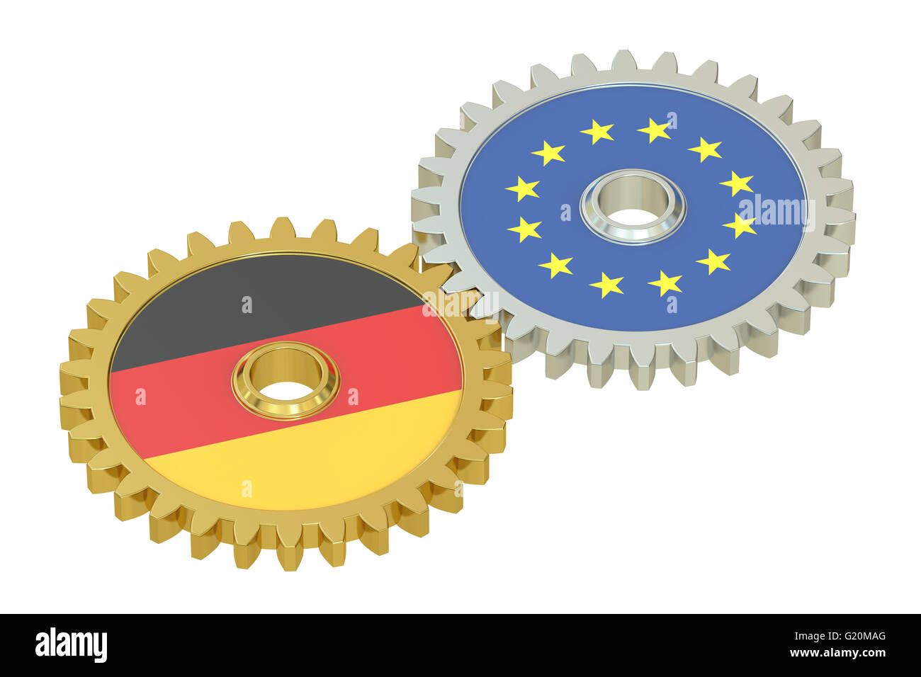 Germany and EU flags on a gears, 3D rendering isolated on white background - Stock Image