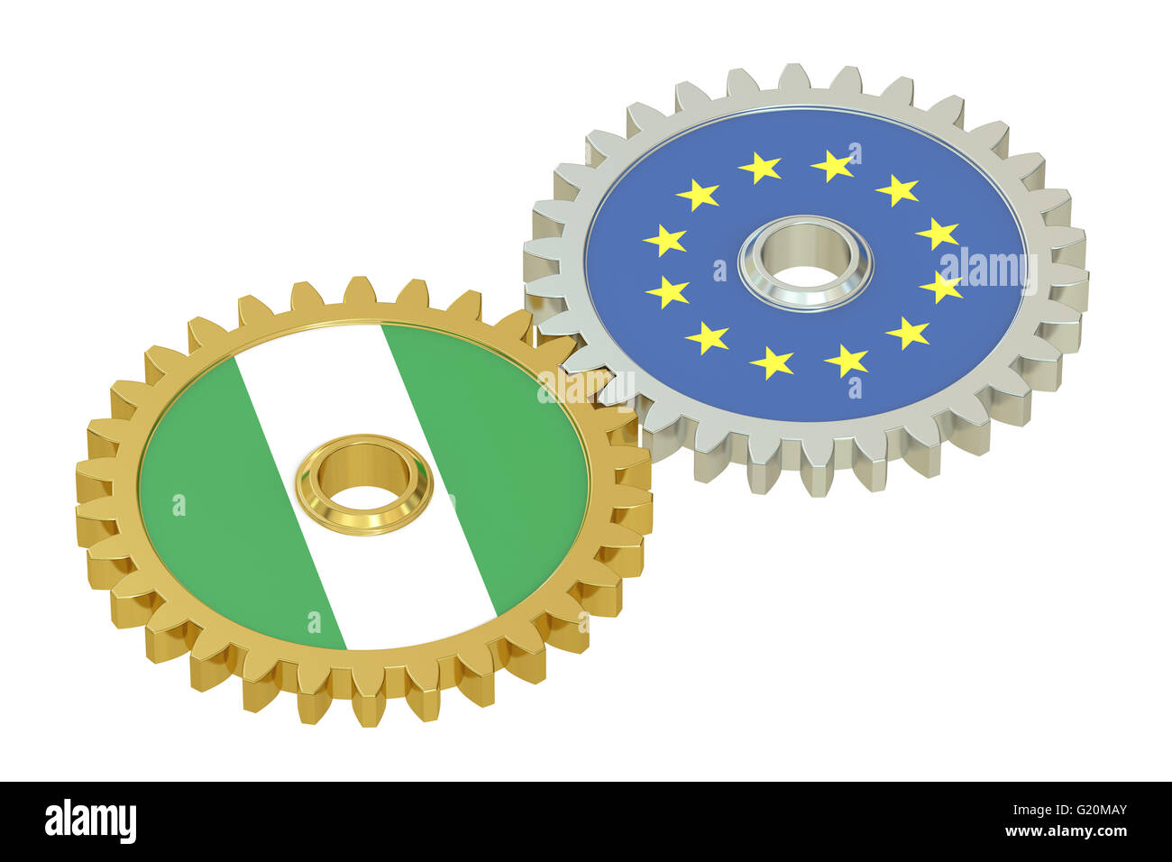 Nigeria and EU flags on a gears, 3D rendering isolated on white background - Stock Image