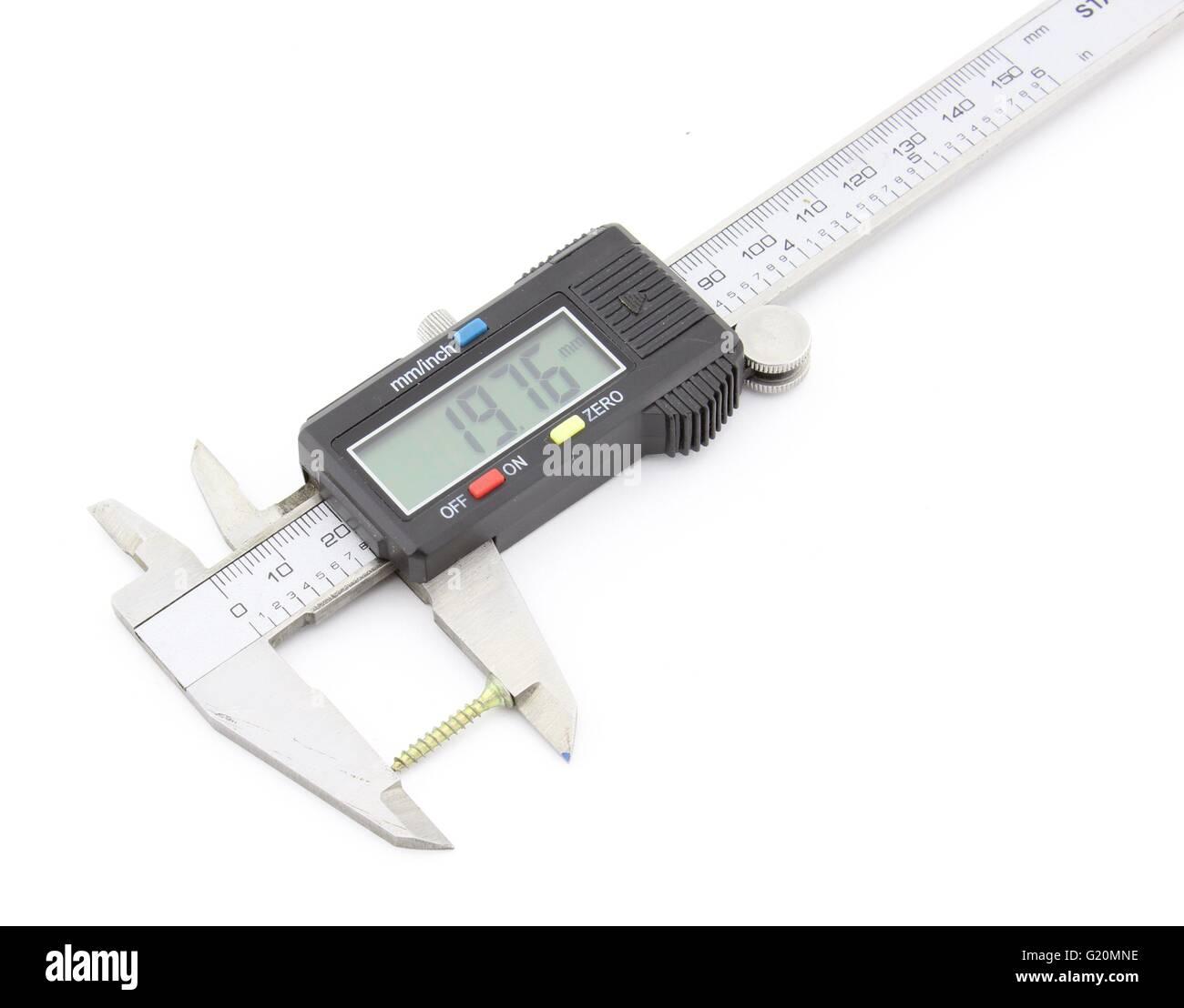 Digital caliper, screw measuring - Stock Image
