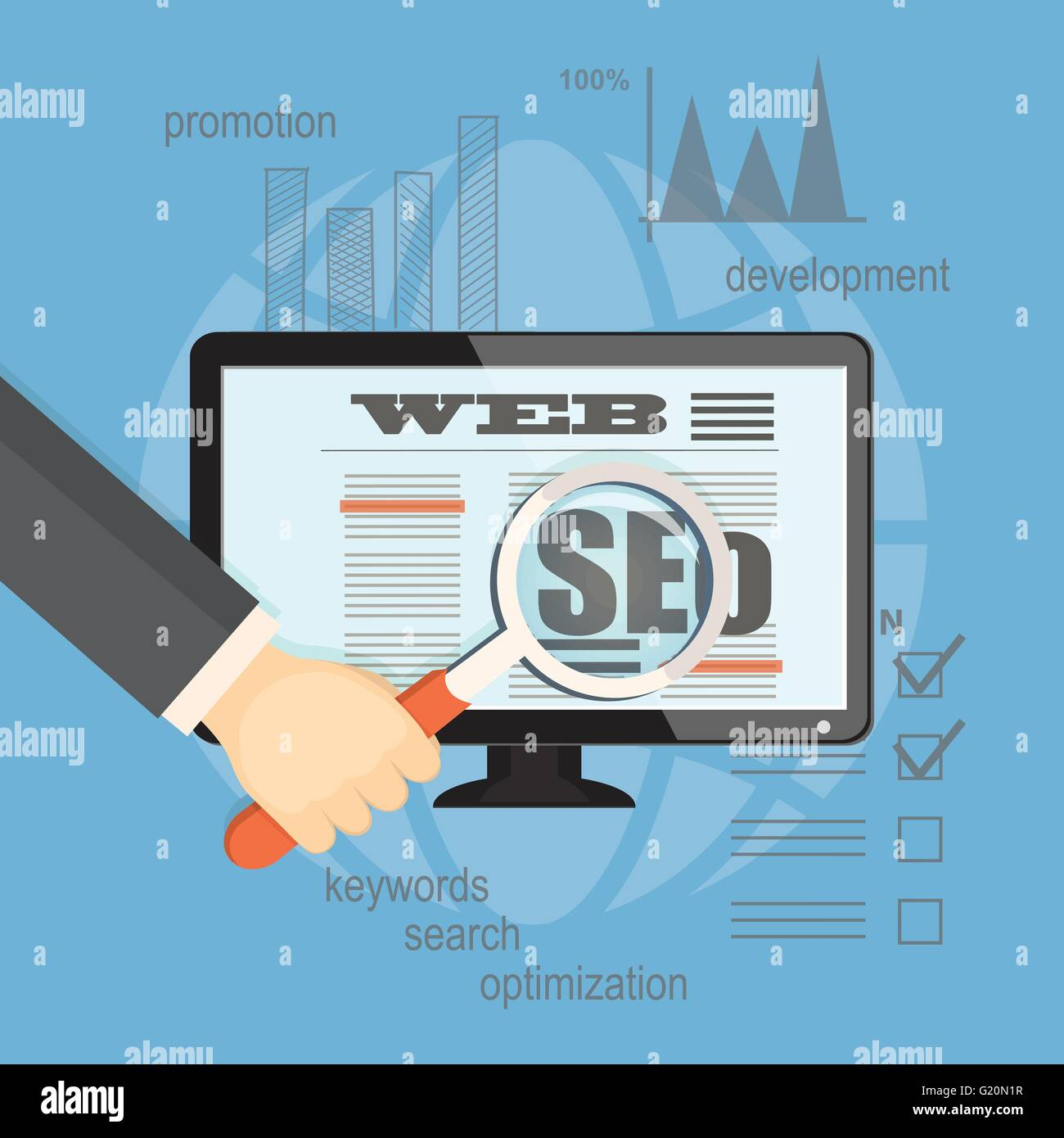 Flat  vector illustration. Concept of seo technology for business website. Hands with   magnifier, laptop and hand - Stock Image