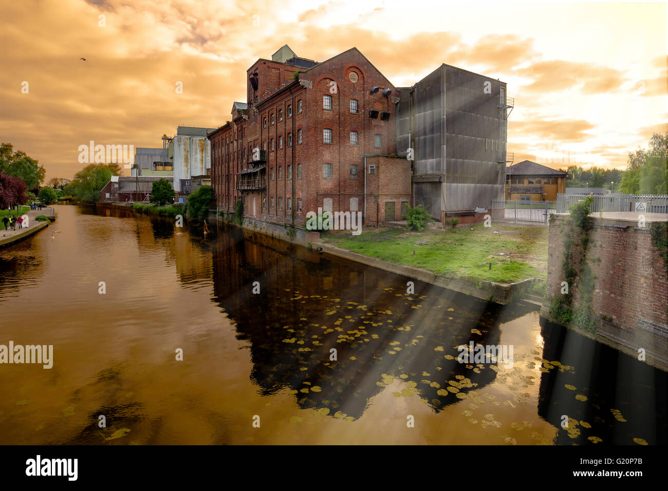 The original Whitworth's mill on the south bank of the River Nene, Wellingborough, Northants. - Stock Image
