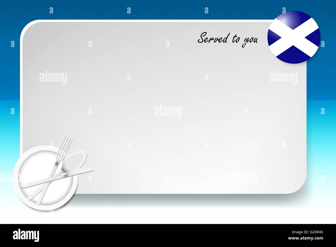 Notice board with inscription inscription Served by and with a Scottish round-flag in the corner. Stock Vector