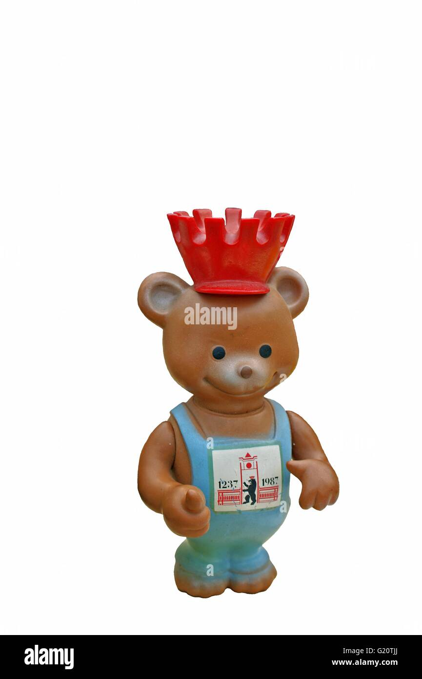 Berlin Brown Toy Teddy Bear - 750 Years Berlin 1987, from East Germany, - Stock Image
