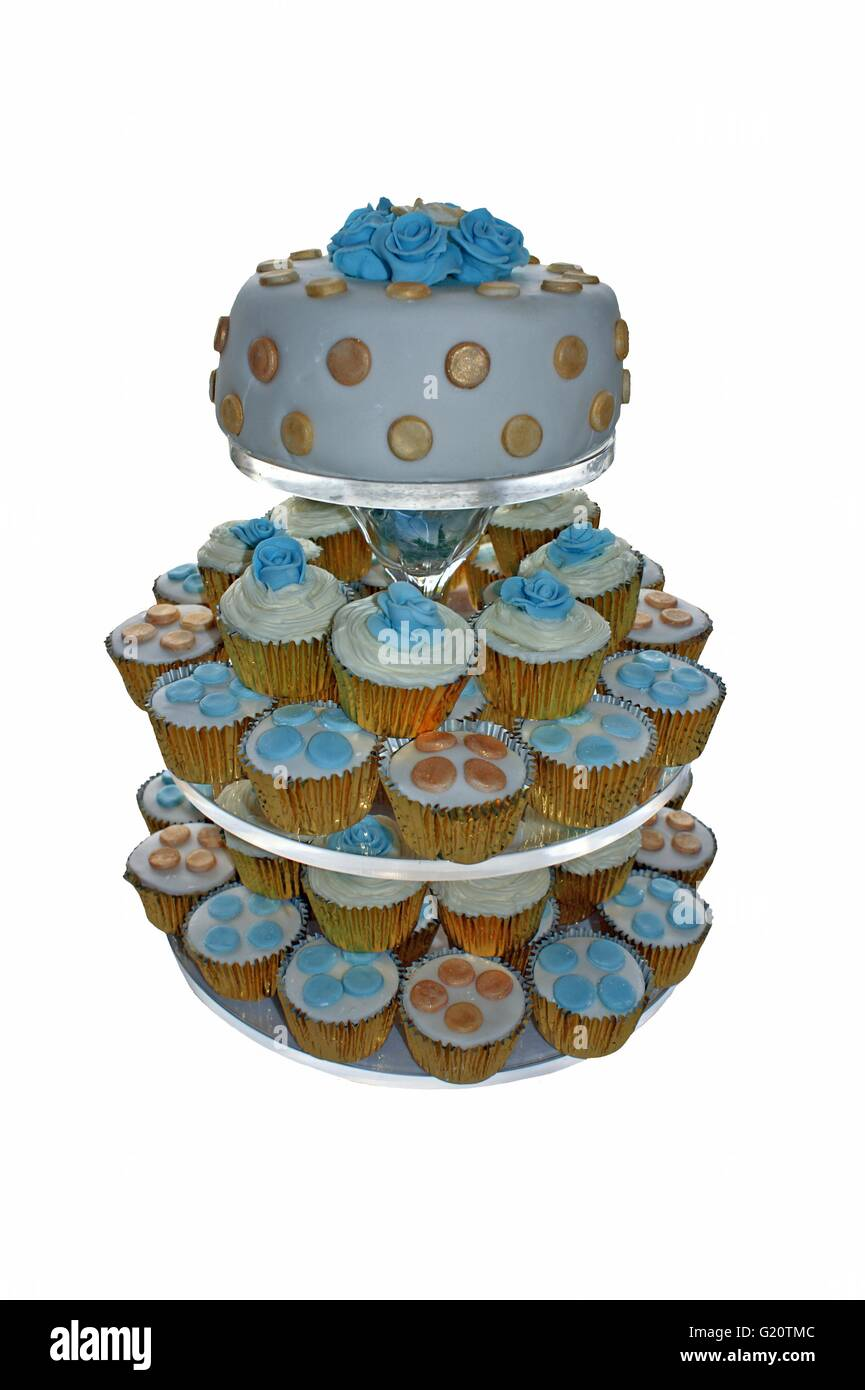 Cutout Of A Birthday Cake Or Wedding Small Cakes Decorated Mini And One Larger For Party Celebrations