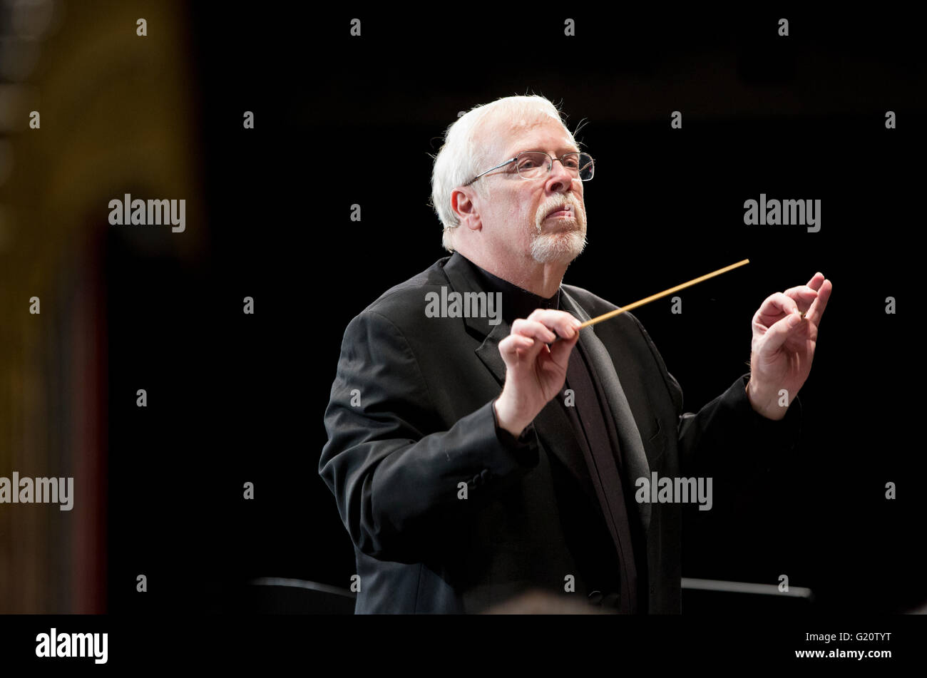 High School orchestra conductor - Stock Image