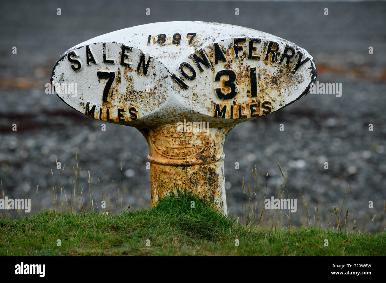 Milestone on the Isle of Mull from 1897 between Salen and Iona Ferry - Stock Image