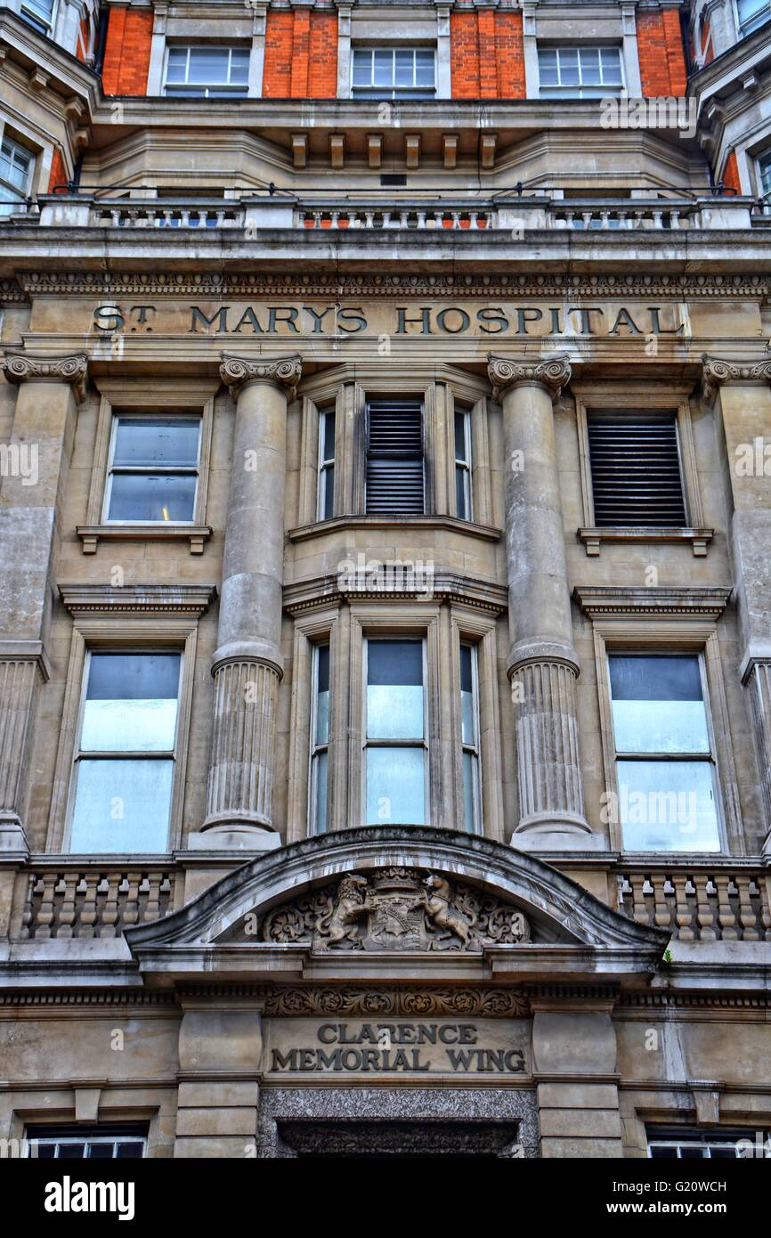 St Marys hospital, London, front view. St Mary's Hospital is the major acute hospital for north west London. - Stock Image
