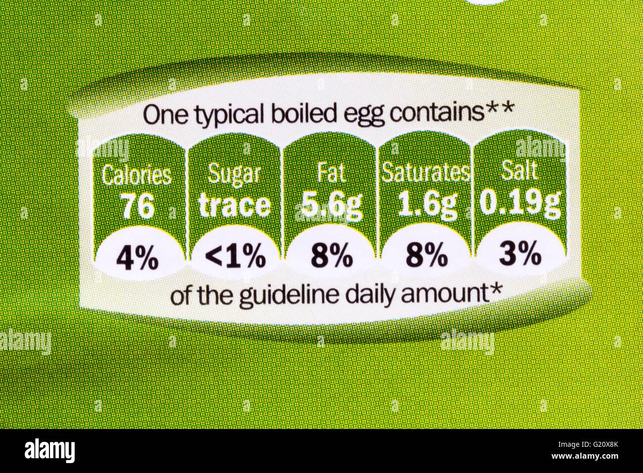 gda information, guideline daily amount, on carton of 6 British medium free range eggs Stock Photo