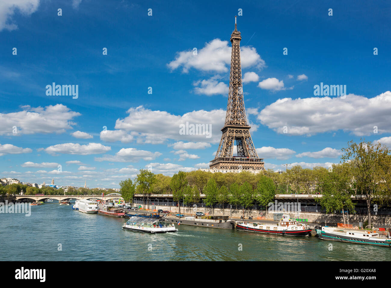 Paris, View on Eiffel tower and seine river - Stock Image
