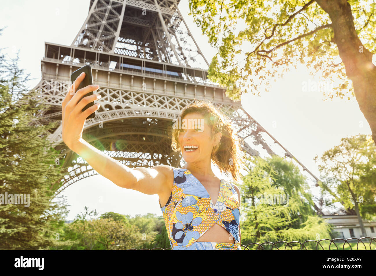Young woman visiting Paris Stock Photo
