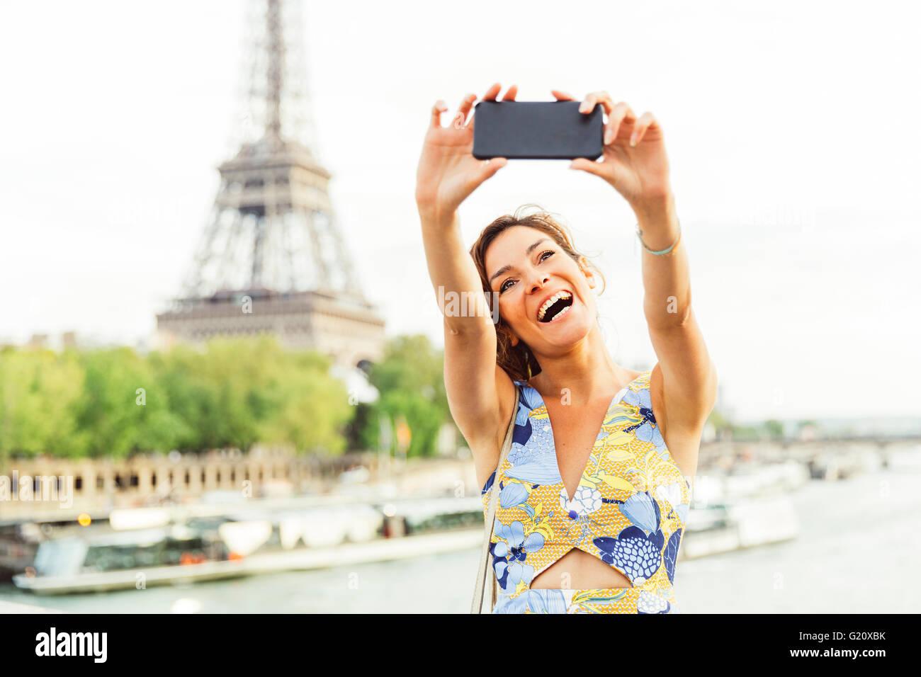 Young woman visiting Paris Stock Photo