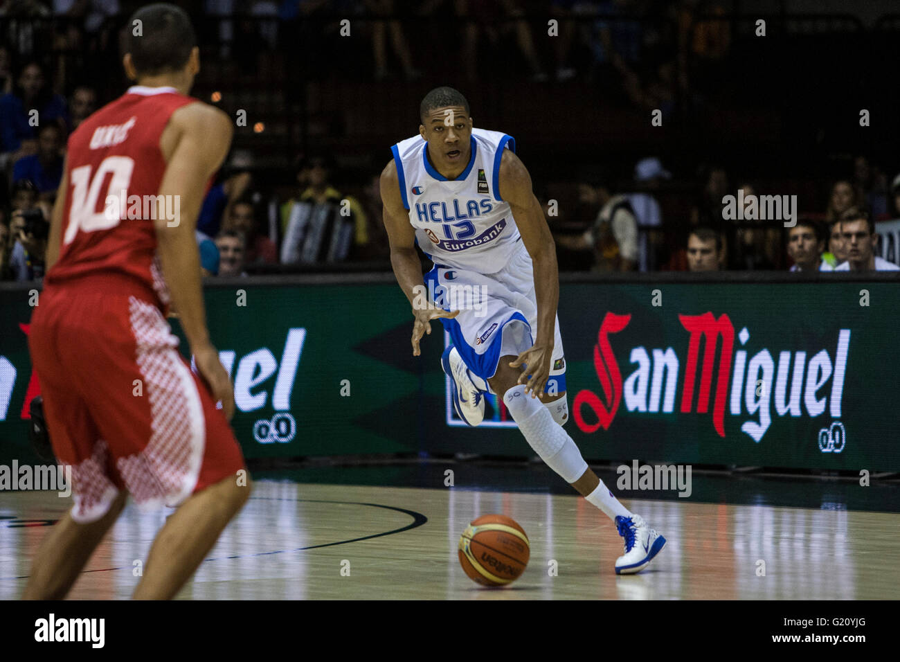 Giannis Antetokounmpo, player of Greece, drives the ball during FIBA Basketball World Cup 2014 Group Phase match, - Stock Image
