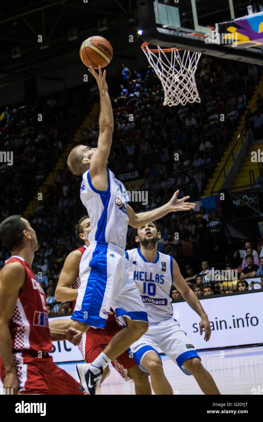 Nick Calathes, player of Greece, shoots during FIBA Basketball World Cup 2014 Group Phase match, on September 3, - Stock Image