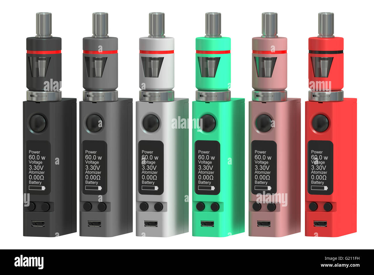 Box Mods Electronic cigarettes, 3D rendering isolated on white background - Stock Image