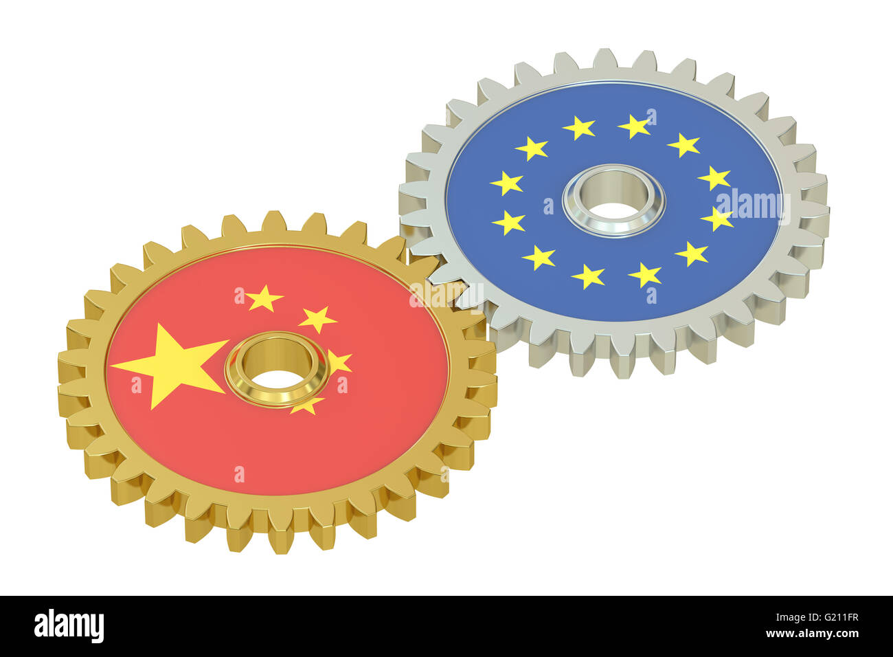 Chinese and EU flags on a gears, 3D rendering isolated on white background - Stock Image