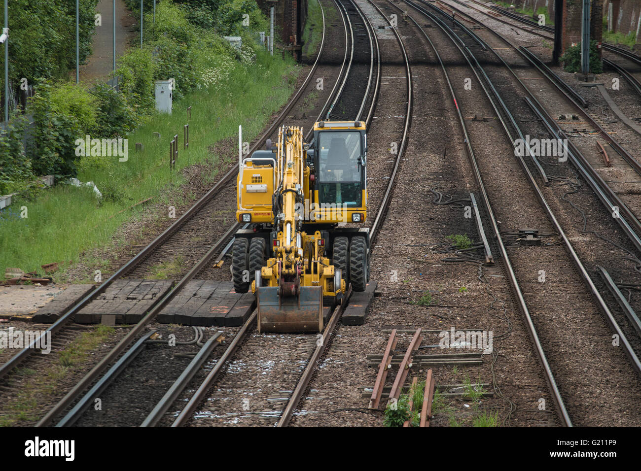 Works on the train lines - Stock Image
