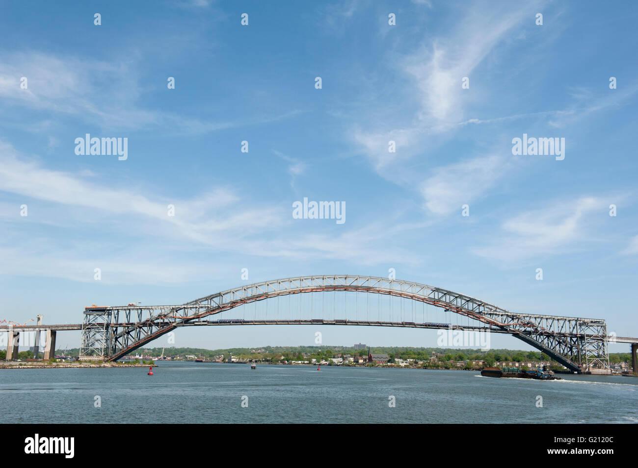 The landmarked Bayonne Bridge, which spans the Kill van Kull between Bayonne, N.J. and Staten Island, opened in - Stock Image