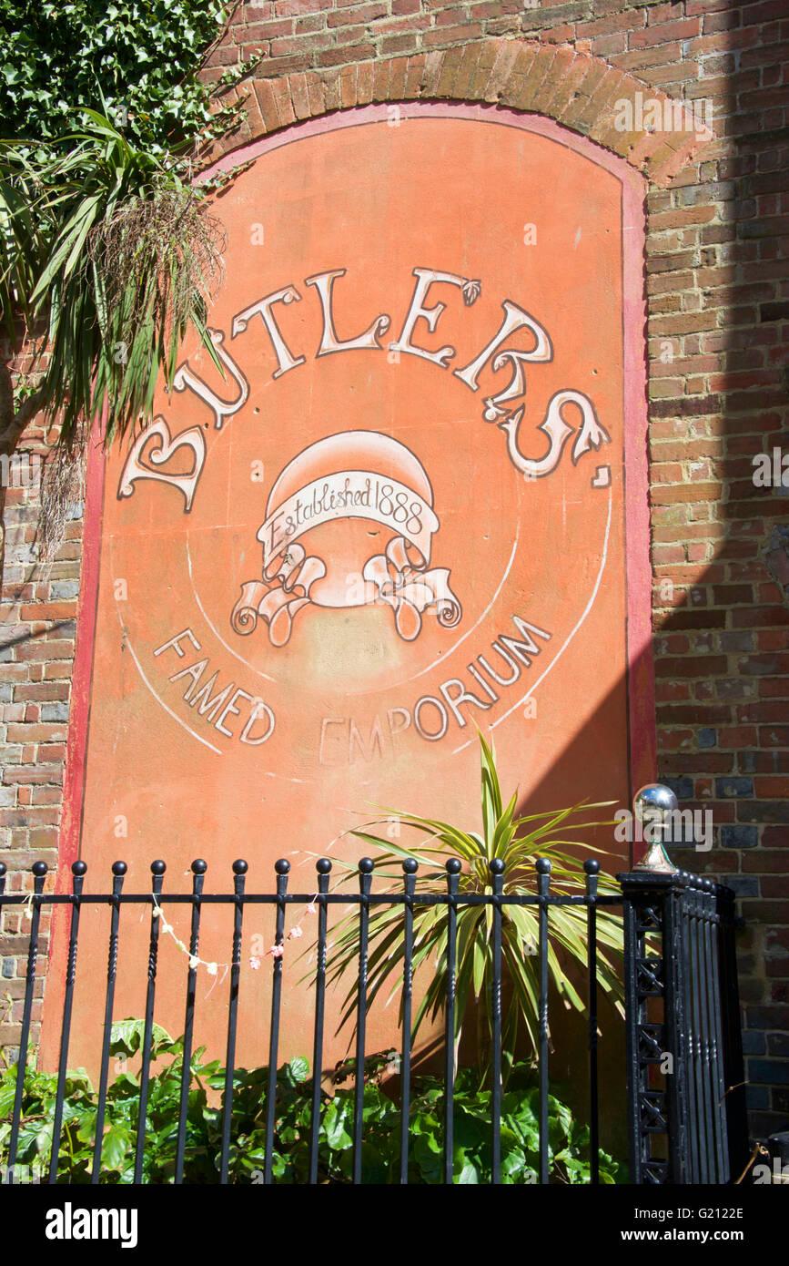 Butlers Emporium sign, Hastings, UK - Stock Image