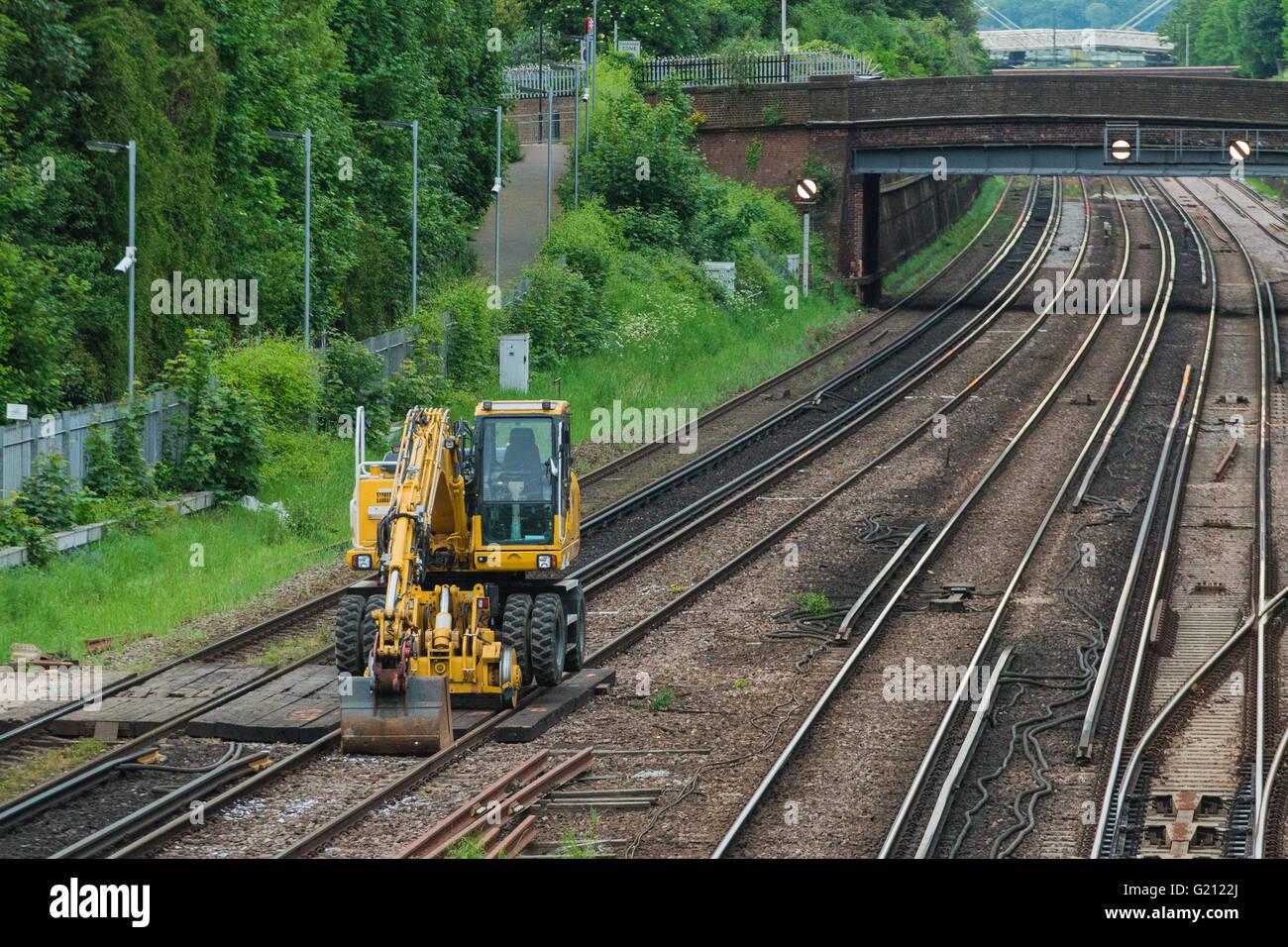 Caterpillar on the train line - Stock Image
