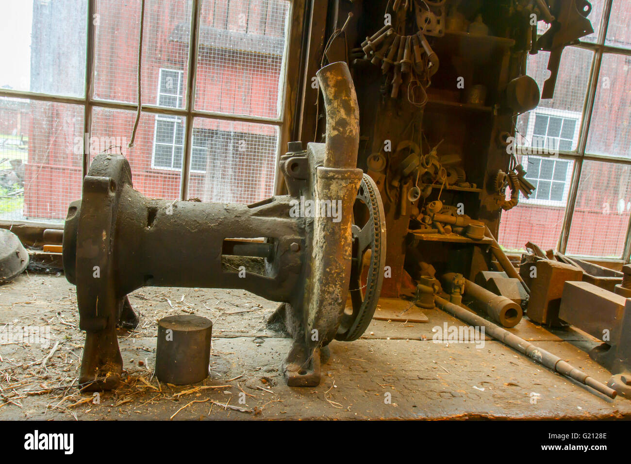 Vintage Tools On Workbench In Old Machine Shop Stock Photo