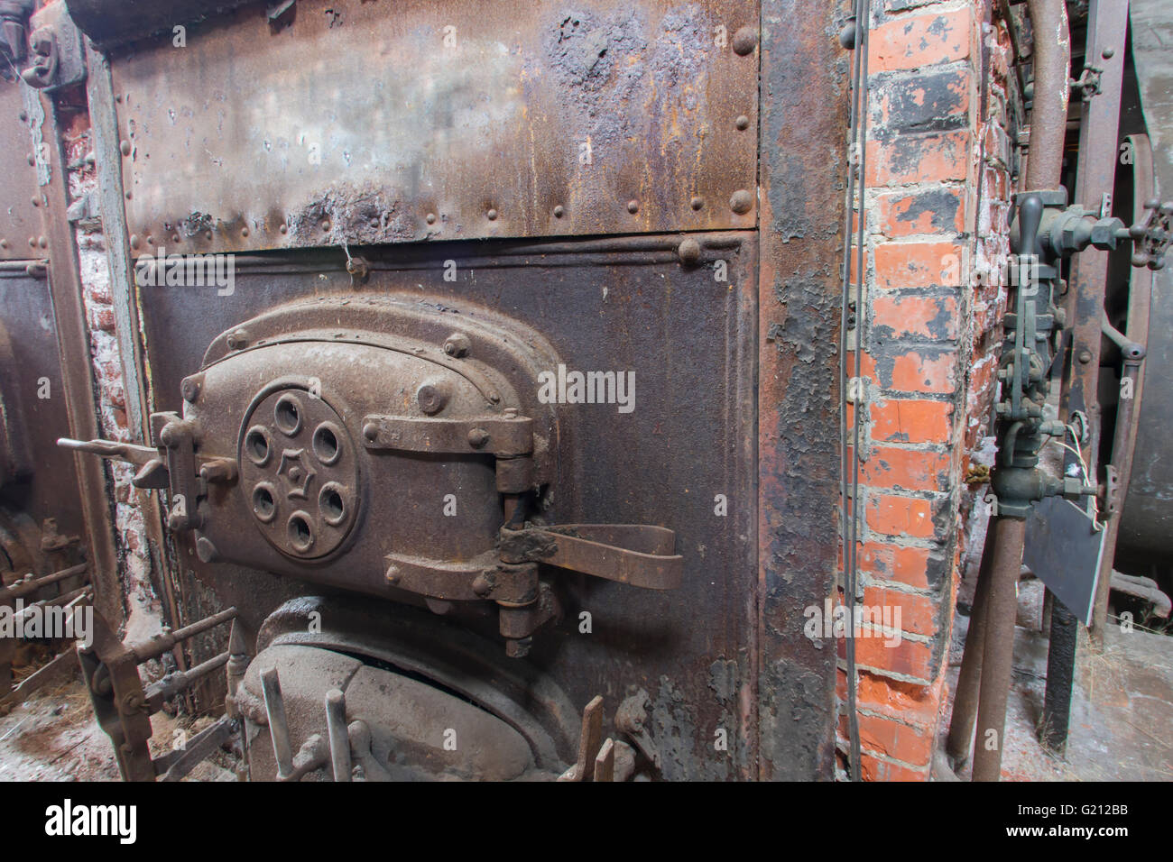 Front Of Brick Coal Burning Boiler For Steam Engine In