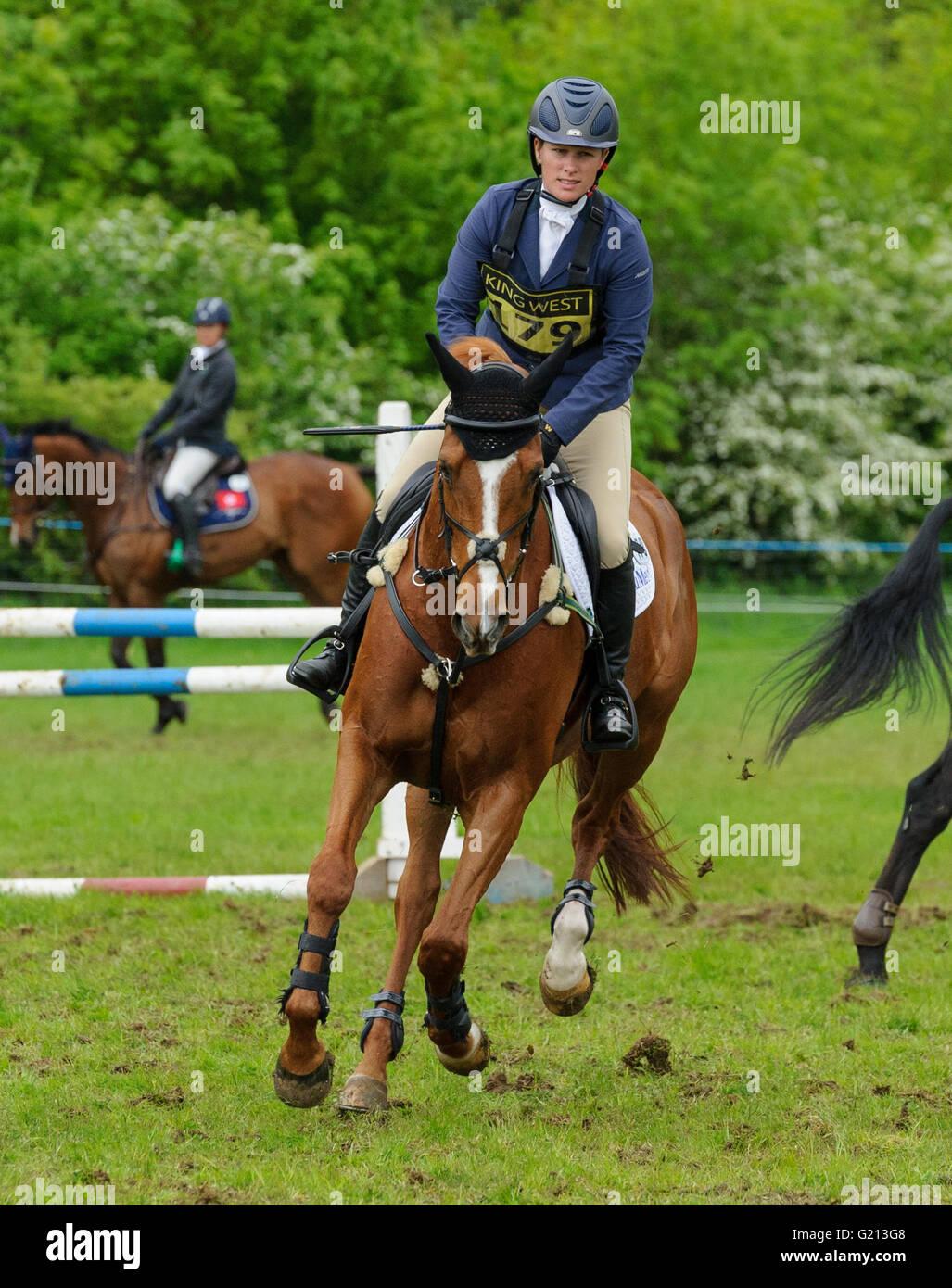 Rockingham Castle, Northamptonshire, UK. 21st May, 2016. Zara Tindall - Rockingham Castle International Horse Trials, Stock Photo