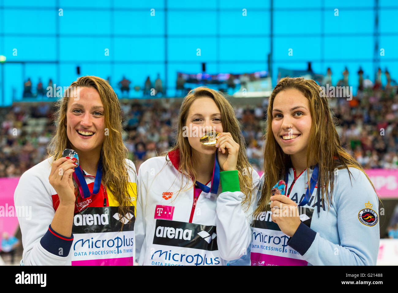 Aquatics Centre, London, UK, 21st May 2016. European Swimming Championships. Women's 1500m Freestyle final. - Stock Image