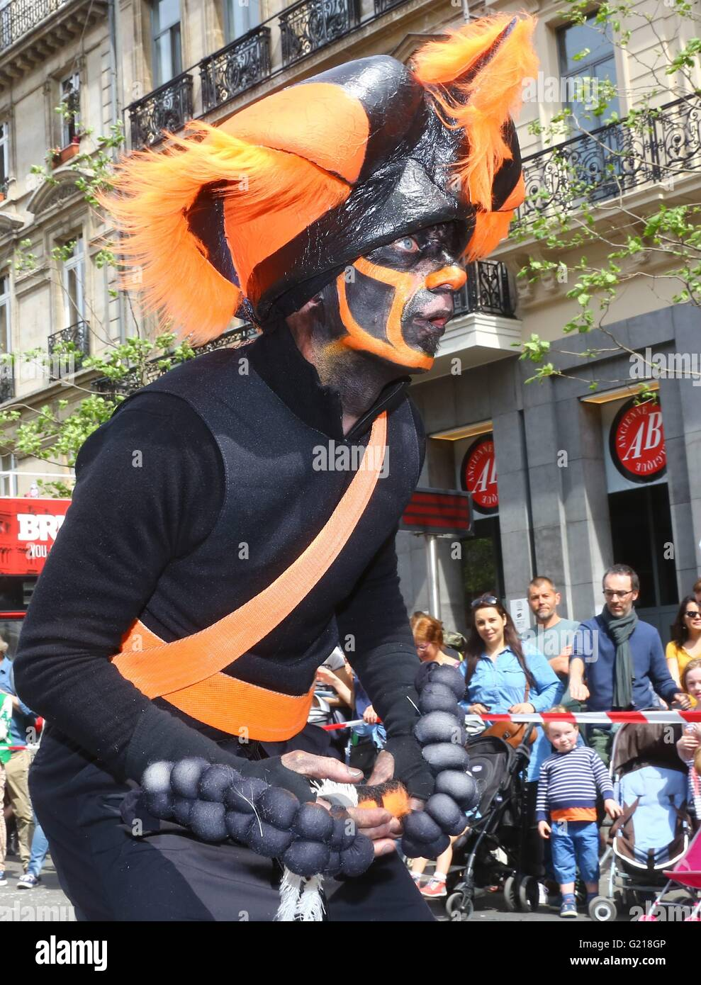 """Brussels. 21st May, 2016. A performer takes part in the biyearly Zinneke Parade under the theme """"Fragil"""" in Brussels, Stock Photo"""
