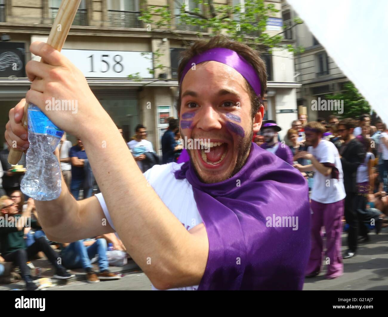 "Brussels. 21st May, 2016. A performer takes part in the biyearly Zinneke Parade under the theme ""Fragil"" in Brussels, Stock Photo"