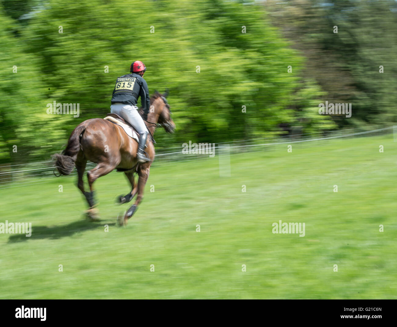 Rockingham, Corby, UK. 22nd May, 2016. (owned by ) races along an obstacle free part of the course during the cross - Stock Image
