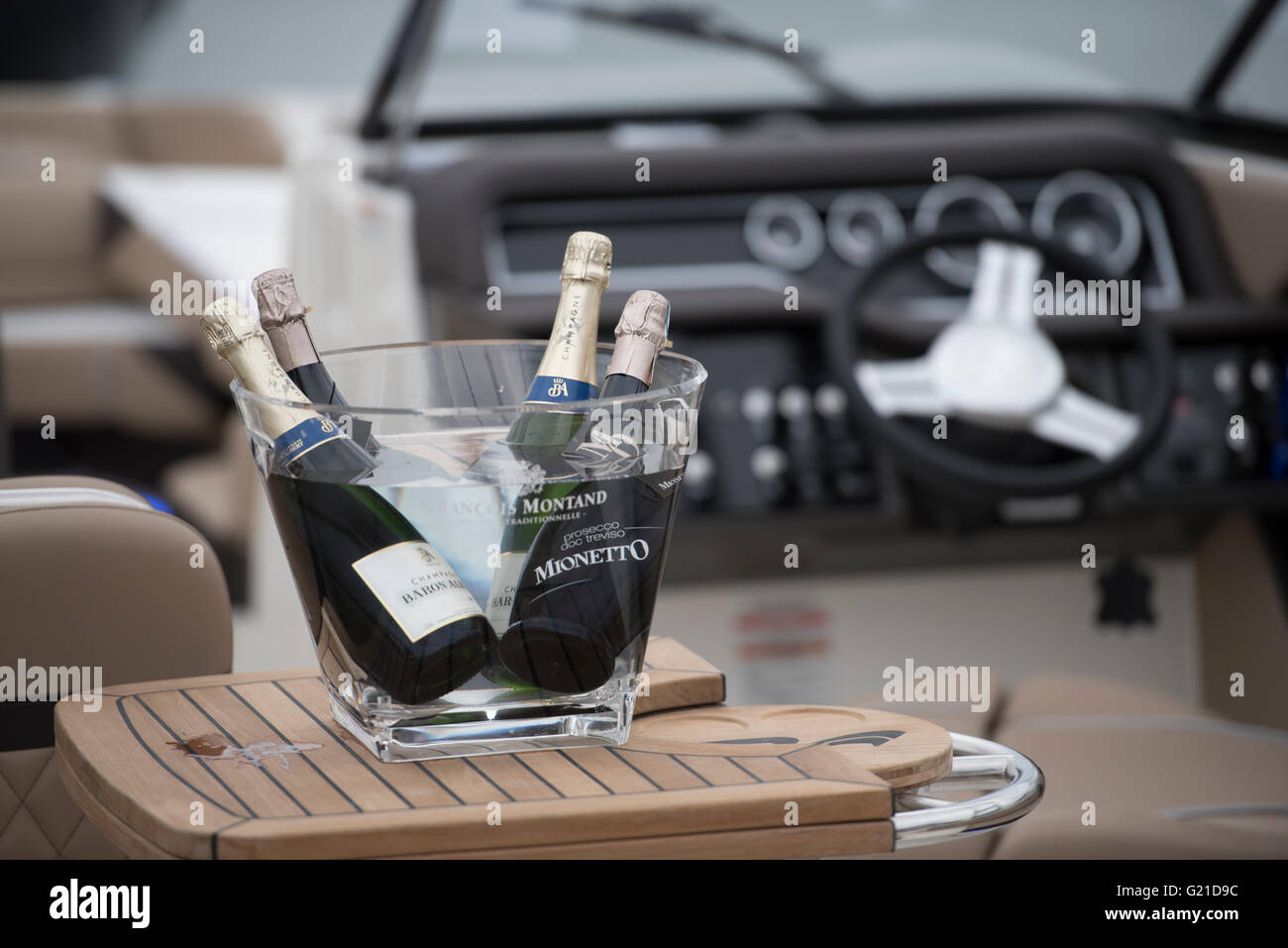 Poole, UK. 22nd May, 2016. Bottles of champaign on a prestigious boat at Poole Harbour boat show. Credit:  martin - Stock Image