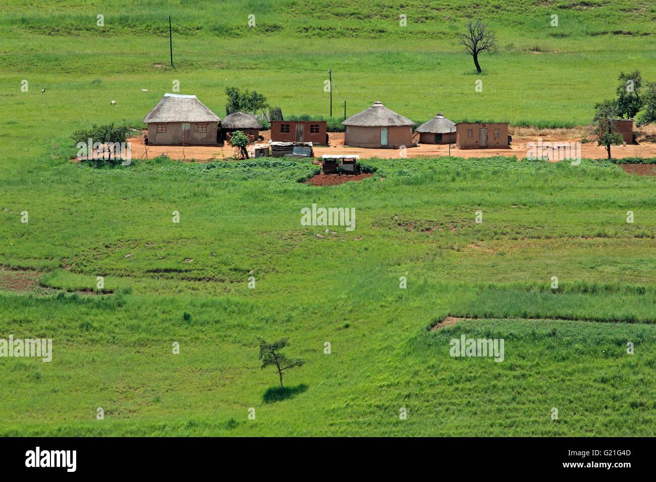Small rural huts in mountainous grassland, KwaZulu-Natal, South Africa Stock Photo