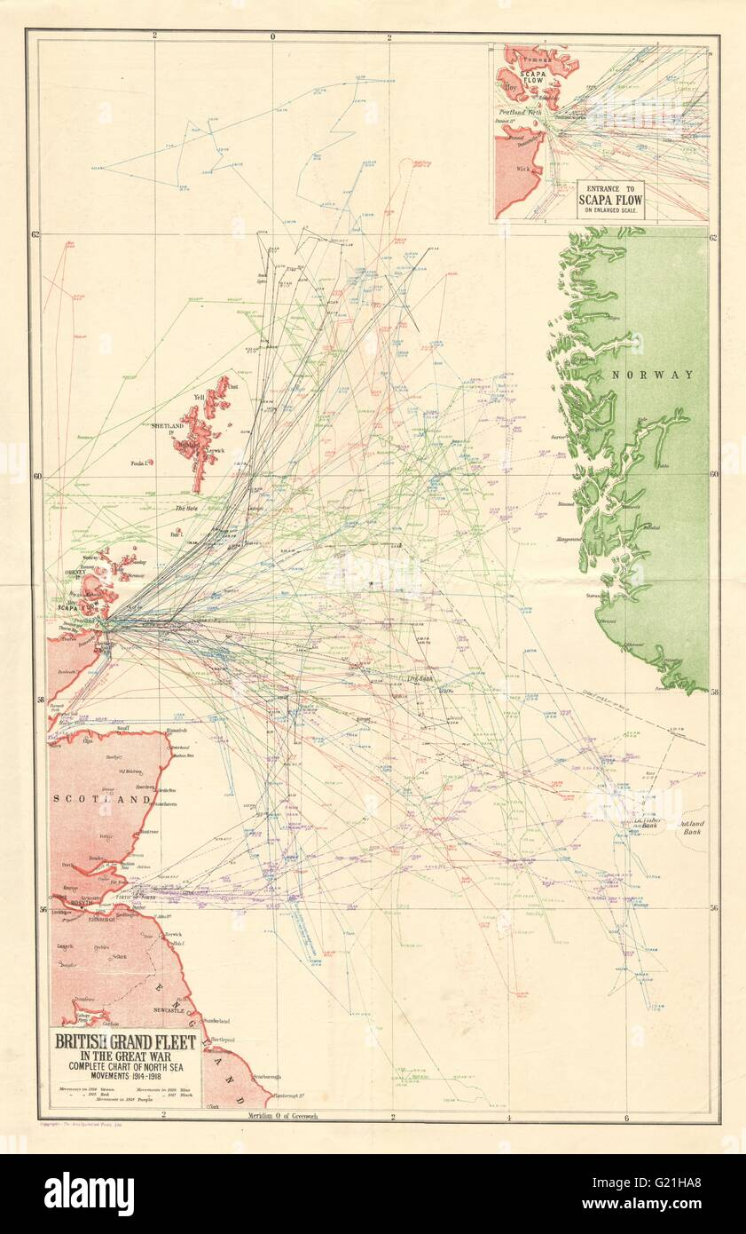 'British Grand Fleet in the Great War' North Sea movements. HARMSWORTH, 1920 map - Stock Image