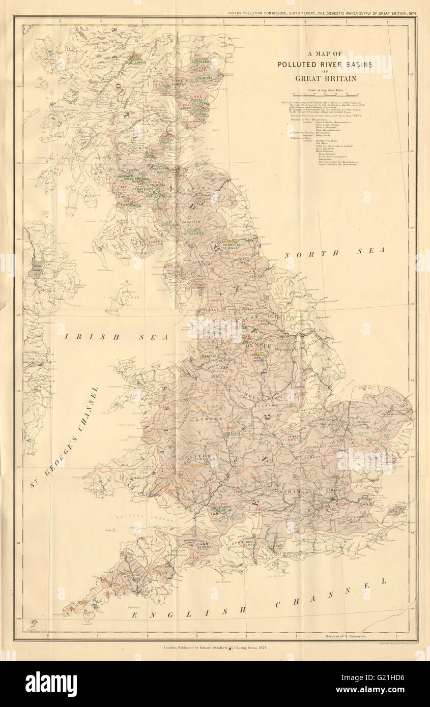 'Polluted River Basins of Great Britain'. Pollution. STANFORD, 1874 old map - Stock Image