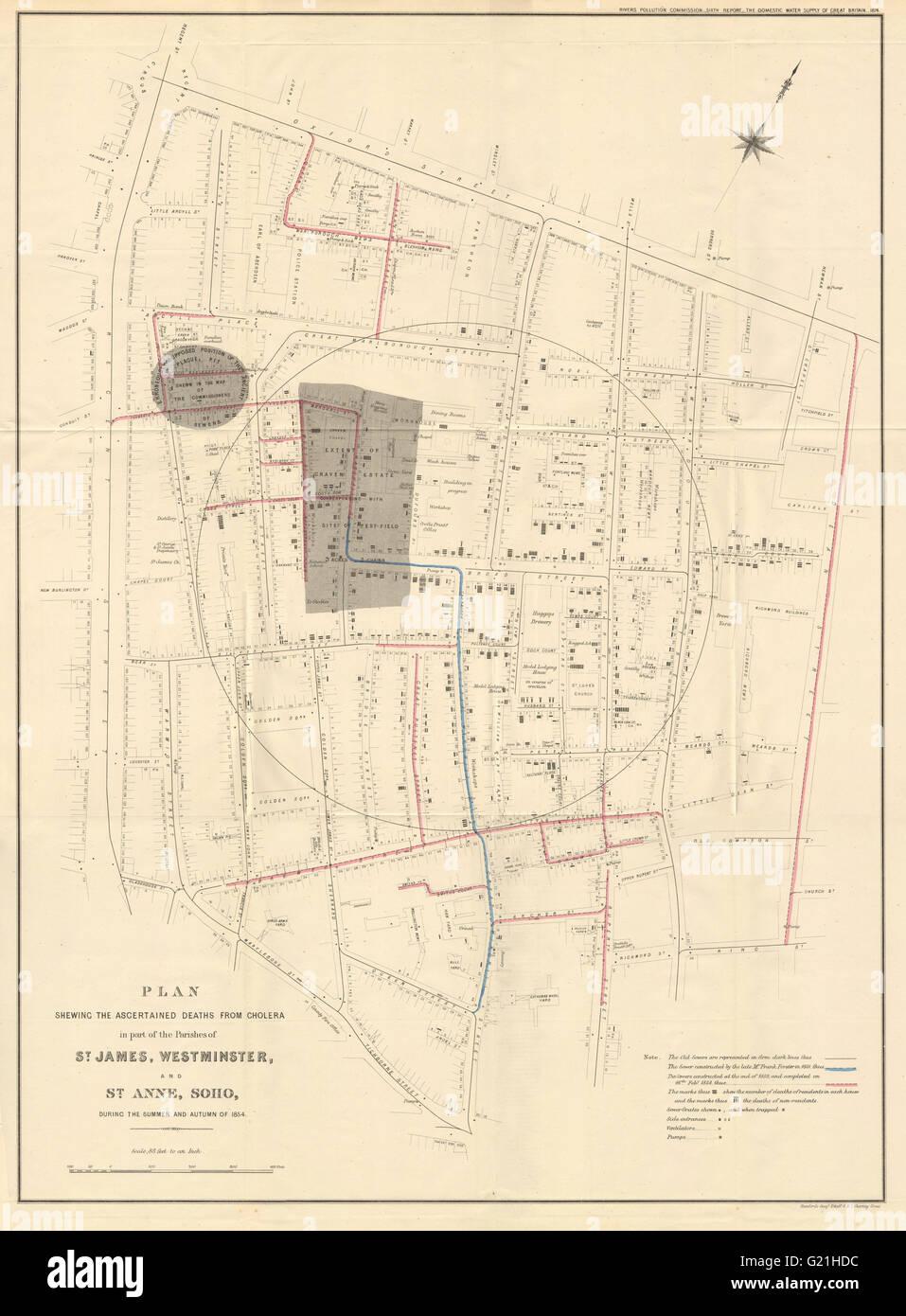 Map Soho London.Deaths From Cholera Outbreak In Soho London In 1854 John Snow