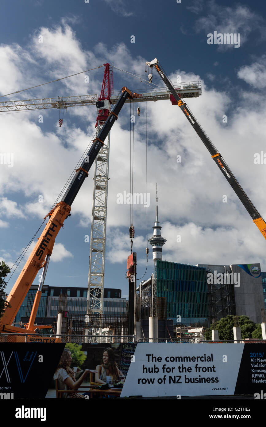 AAuckland, the city of cranes! Record number of cranes working on the extensive building sites in the Wynyard Quarter Stock Photo