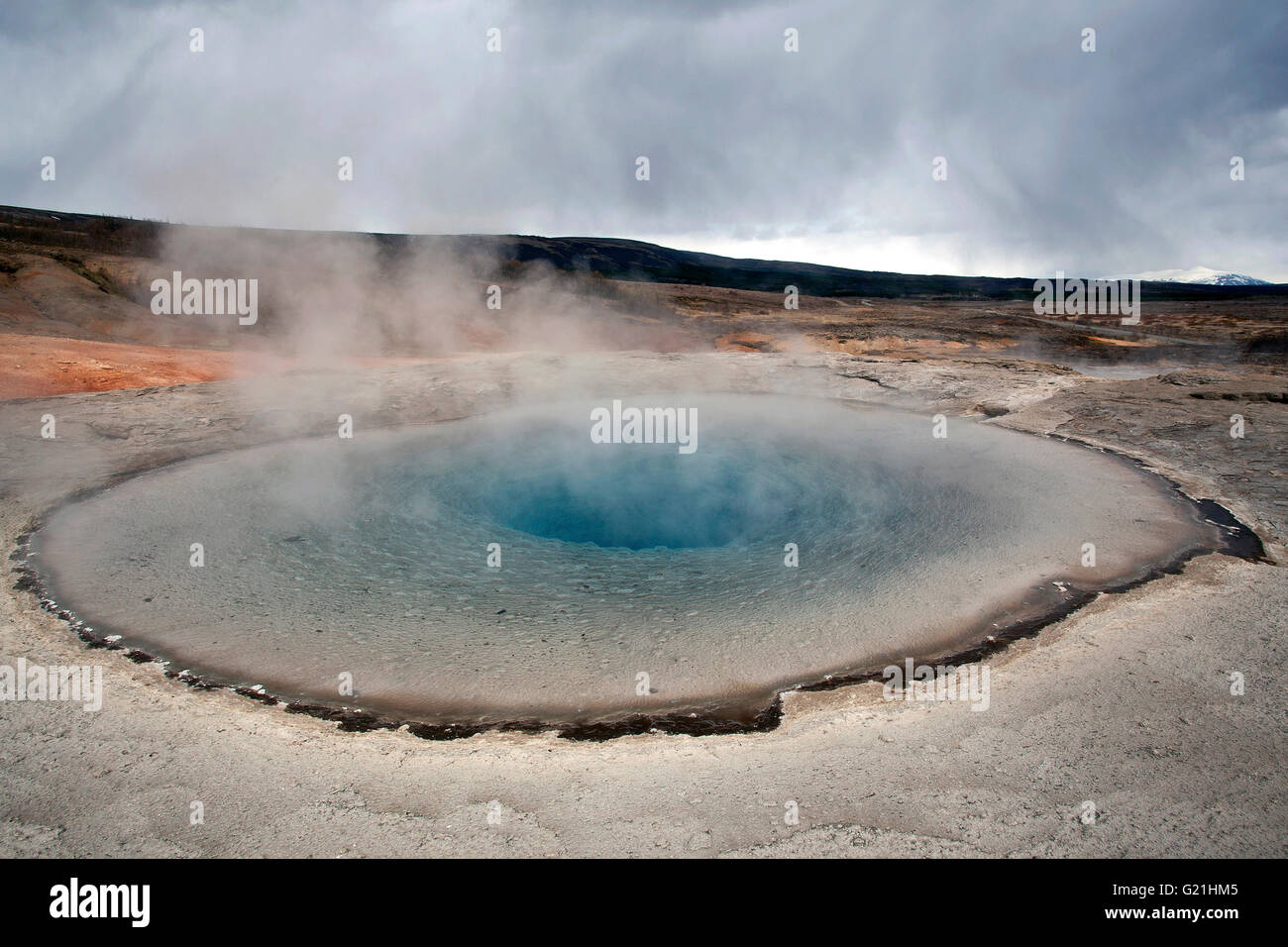 Geysir, high temperature area in Haukadalur Valley, tourist attractions, the Golden Circle Route, Iceland Stock Photo