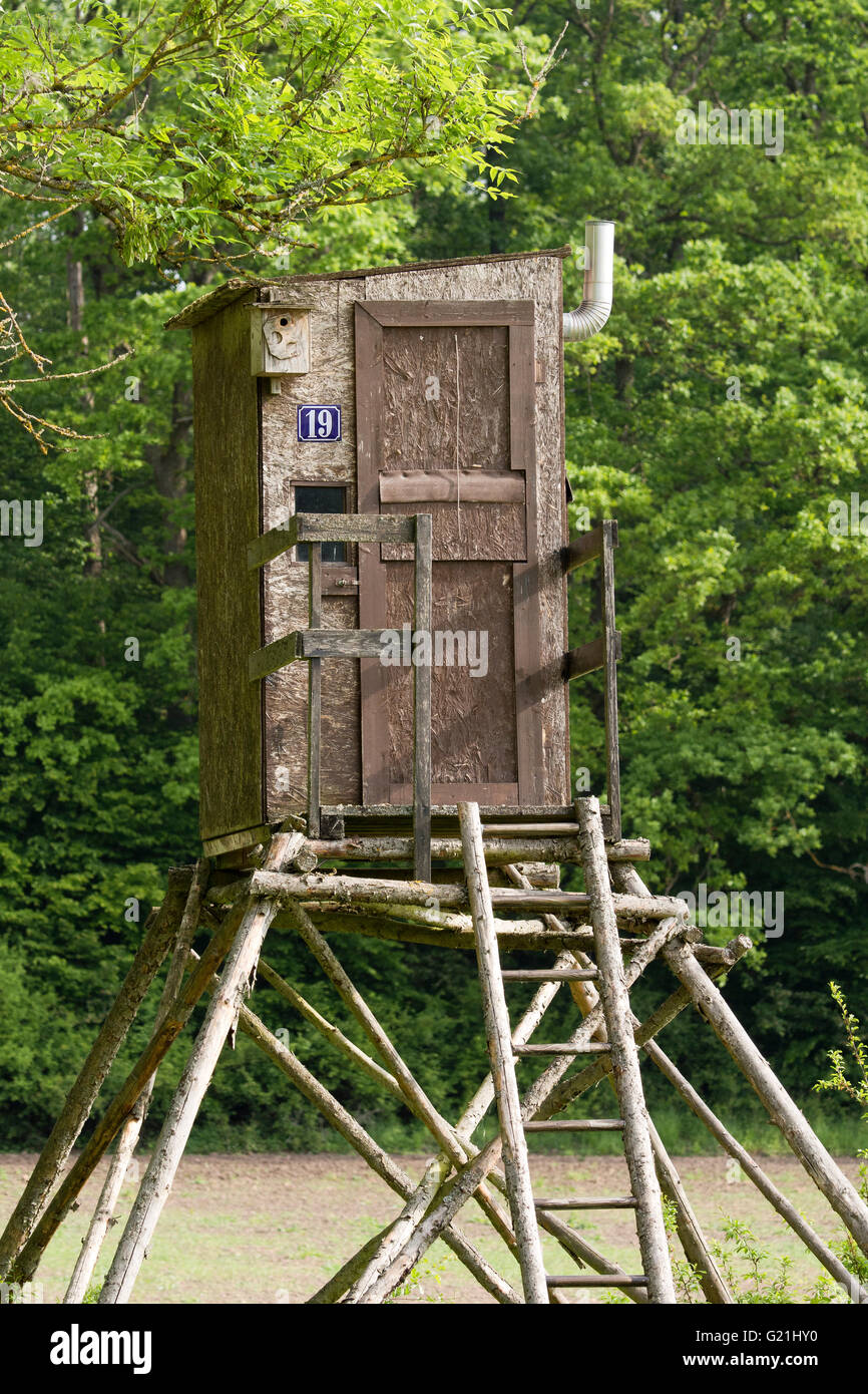Raised hide for the huter with chimney, house number and birdhouse, Schwäbisch Hall, Baden-Württemberg, - Stock Image