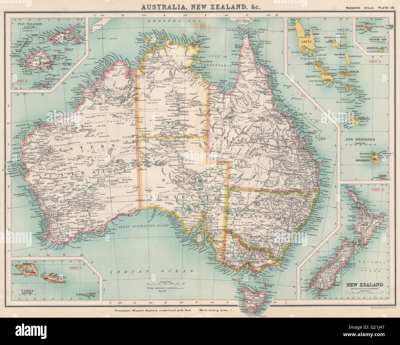Map Of Australia New Zealand And Fiji.Australia New Zealand Fiji New Hebrides Protestant Mission Stations