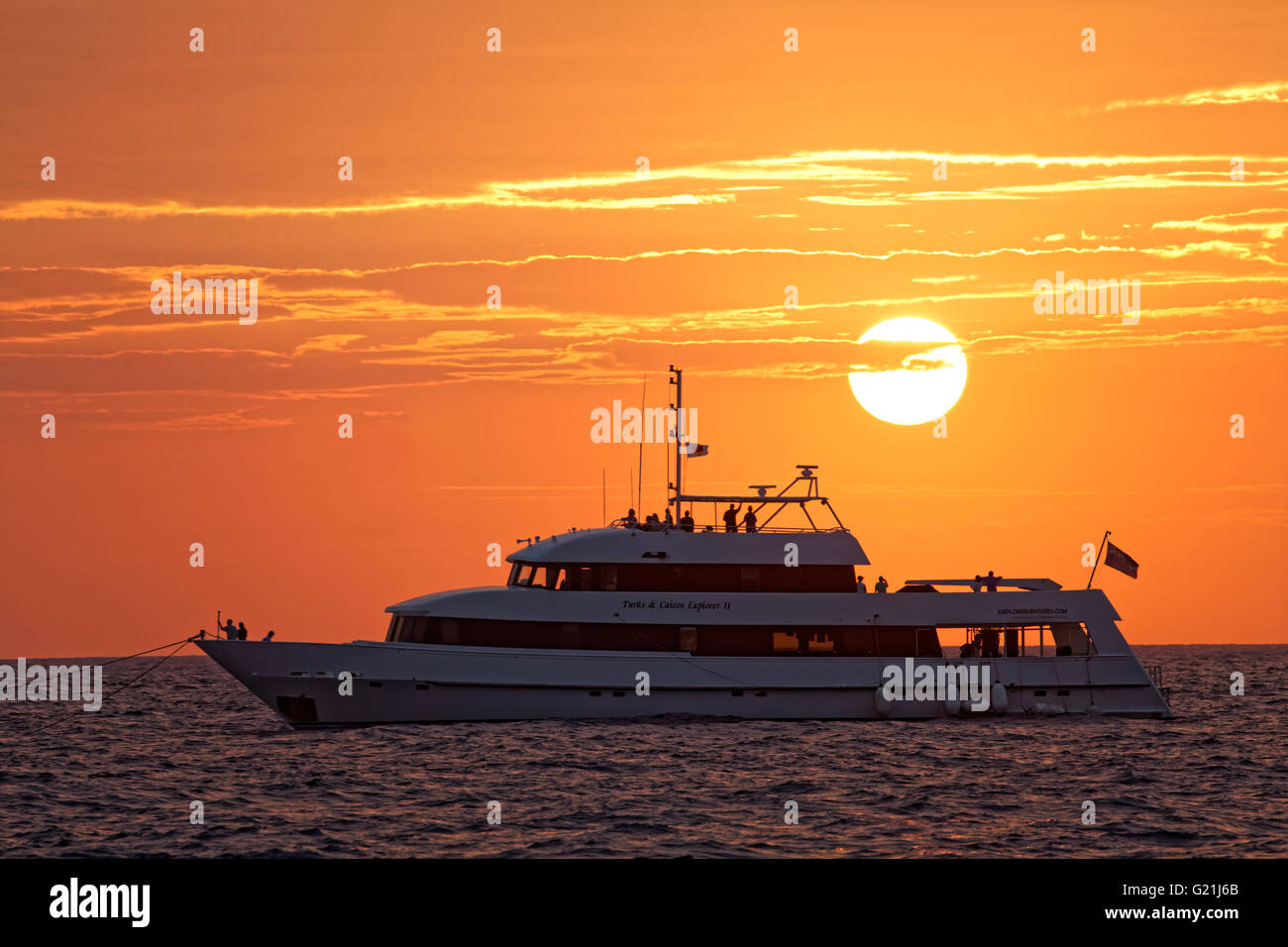 Whale watching and diving ship Turks & Caicos Explorer II, sunset, Silver Bank, Silver and Navidad Bank Sanctuary - Stock Image