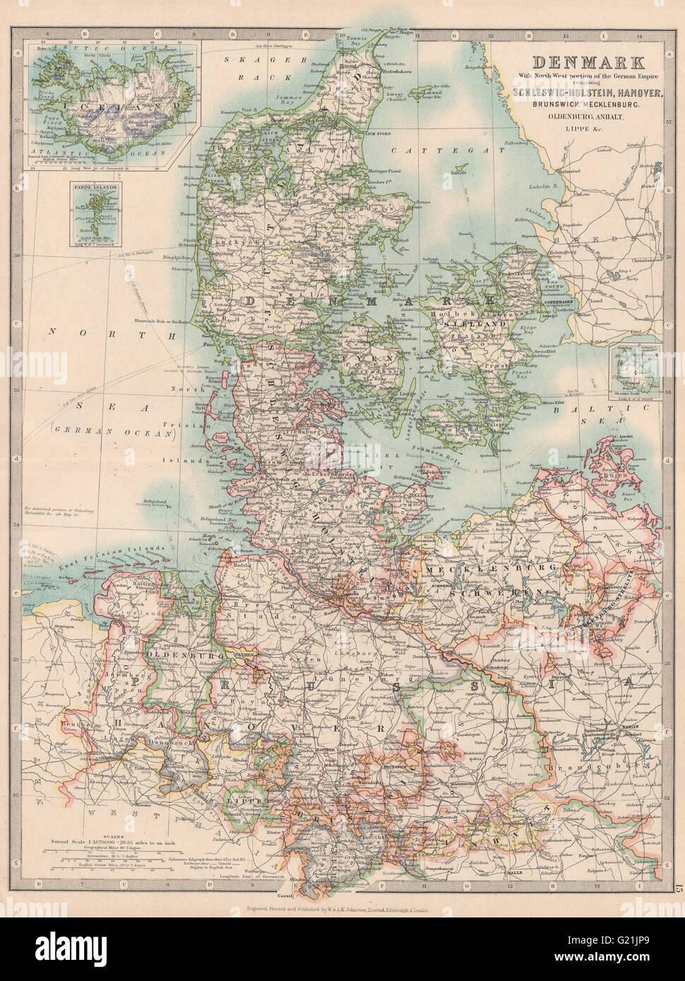 Map Of Northern Germany And Denmark.Denmark Northern Germany Schleswig Holstein Hanover Johnston